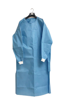 DISPOSABLE MEDICAL ISOLATION GOWN BLUE,